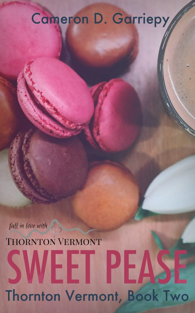 Cover art for Sweet Pease by Cameron D Garriepy, depicting French macarons